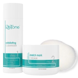 ReTone Stretch Mark Therapy Kit - Exfoliating Cleanser, Microdermabrasion Sponge, Stretch Mark Cream