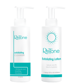 Keratosis Pilaris exfoliating cleanser and lotion